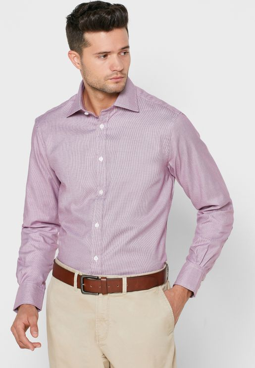 Dogtooth Button Cuff Regular Fit Shirt