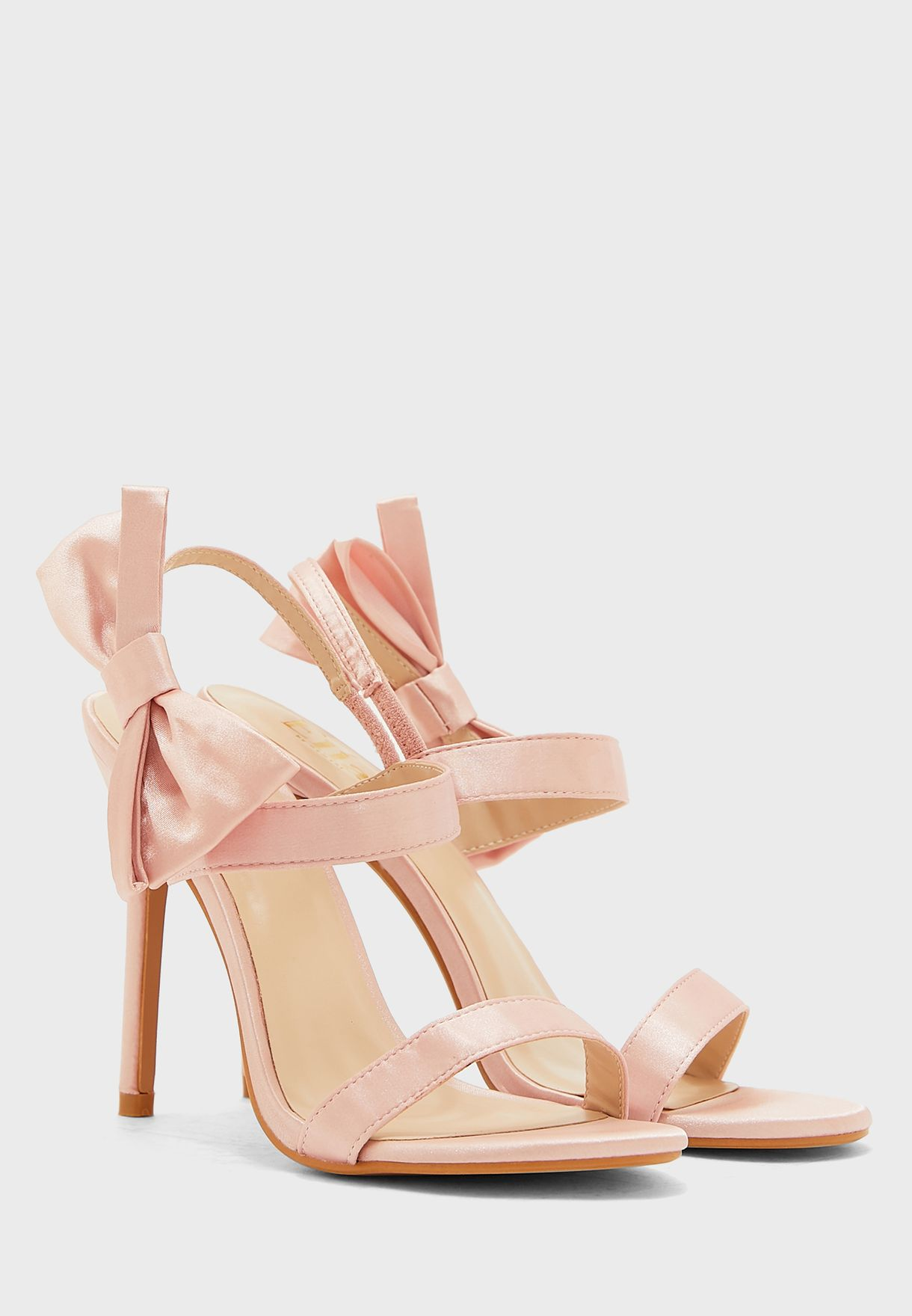 Oversized Bow Detail Ankle Strap Stiletto Sandal