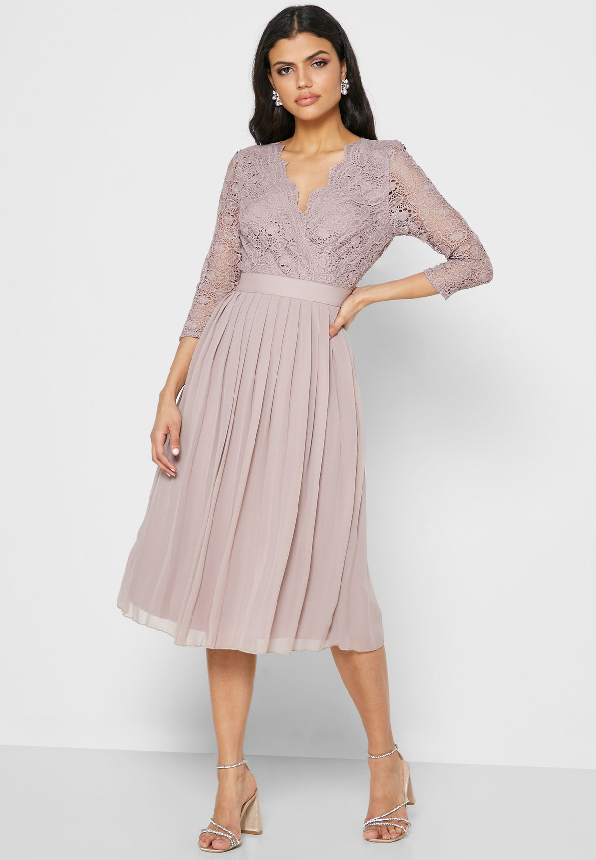 Sheer Sleeve Lace Pleated Dress
