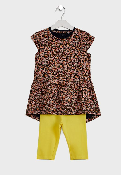 فستان بطباعة زهور وبنطال للاطفال