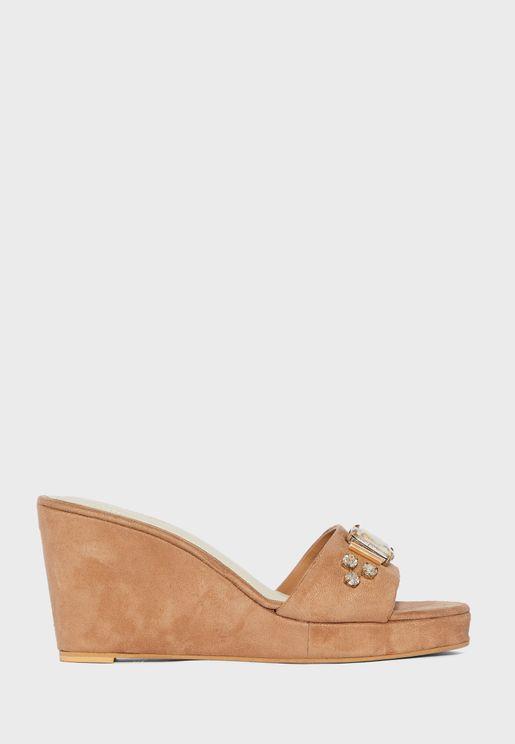 Knot Detail High Heel Wedge Sandal
