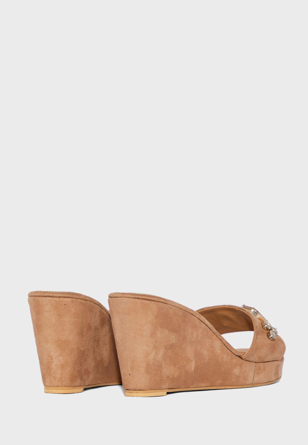 Knot Detail High Heel Wedge Sandals
