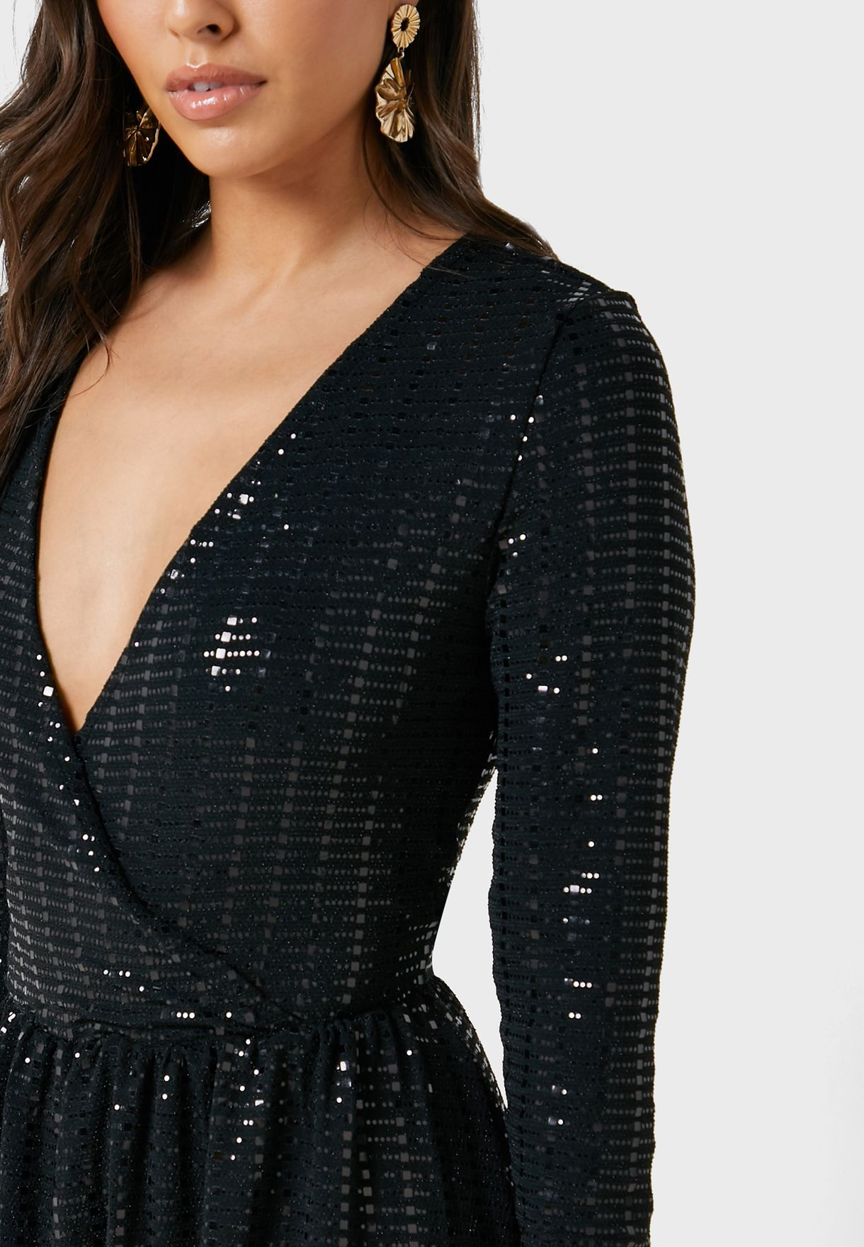 Plunge Sequin Dress