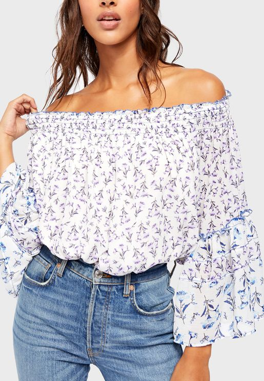 Rose Valley Ditsy Print Bardot Top