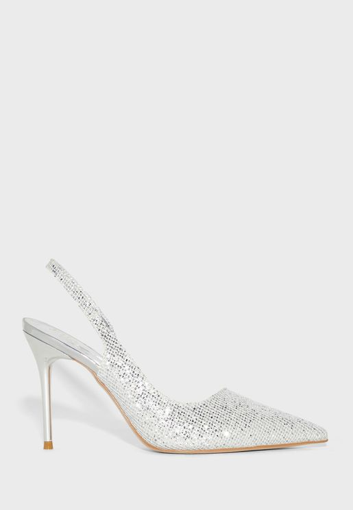 Shimmer Cutout Pointed Stiletto