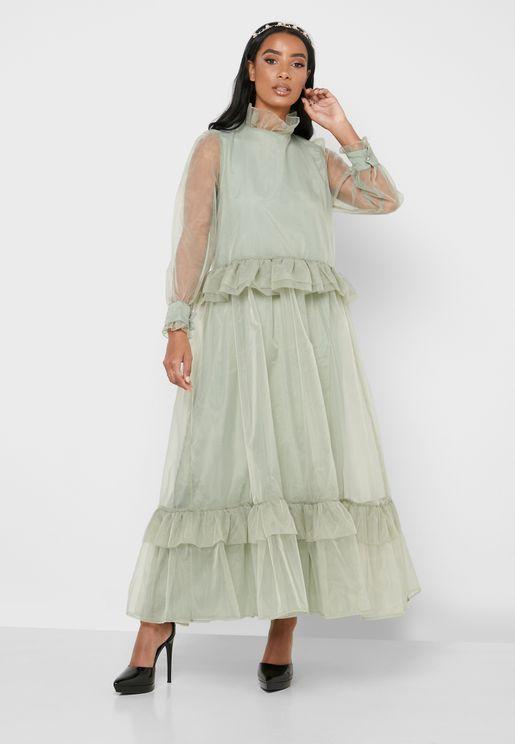 فستان باكمام بكشكش