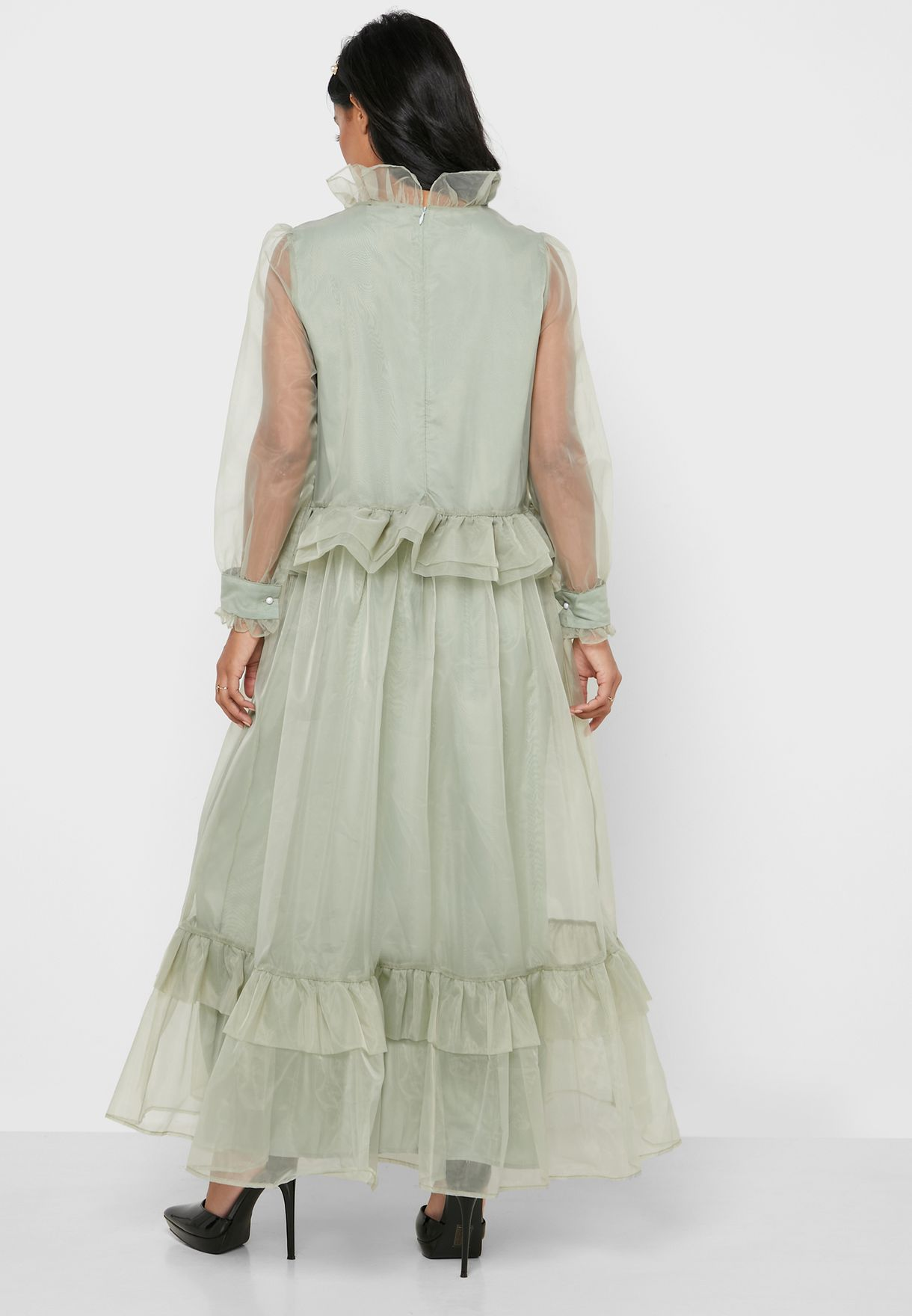 Ruffle Trim Sheer Sleeve Dress