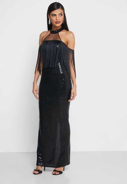 فستان عاري الاكتاف مزين بترتر