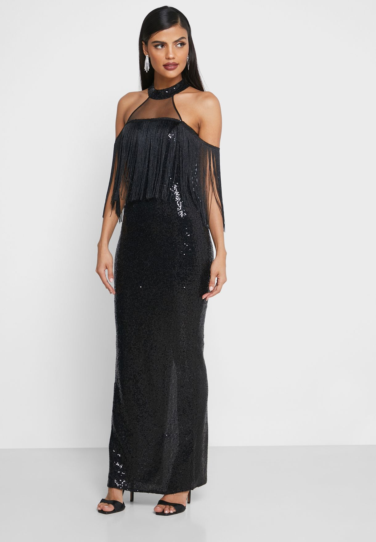 Sequin Fringed Cold Shoulder Maxi Dress