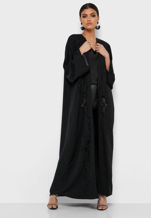 Embellished Lace Detail Abaya