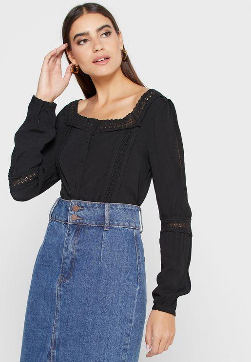 Lace Detail Button Down Shirt