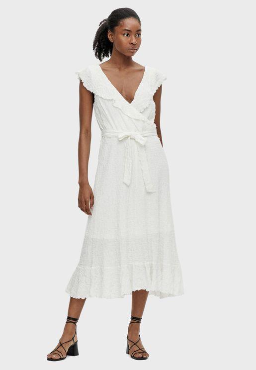 Ruffle Detail Tie Waist Midi Dress