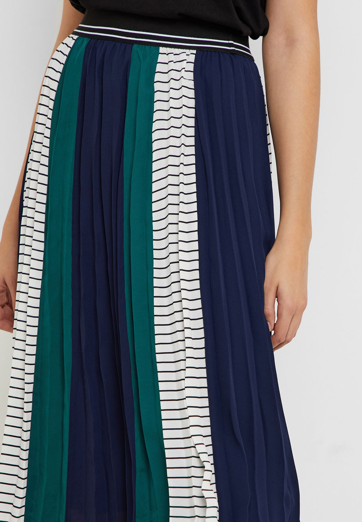 Colourblock Pleated Skirt