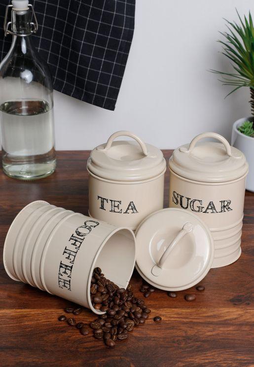 Set of 3 Tea Coffee & Sugar Canisters