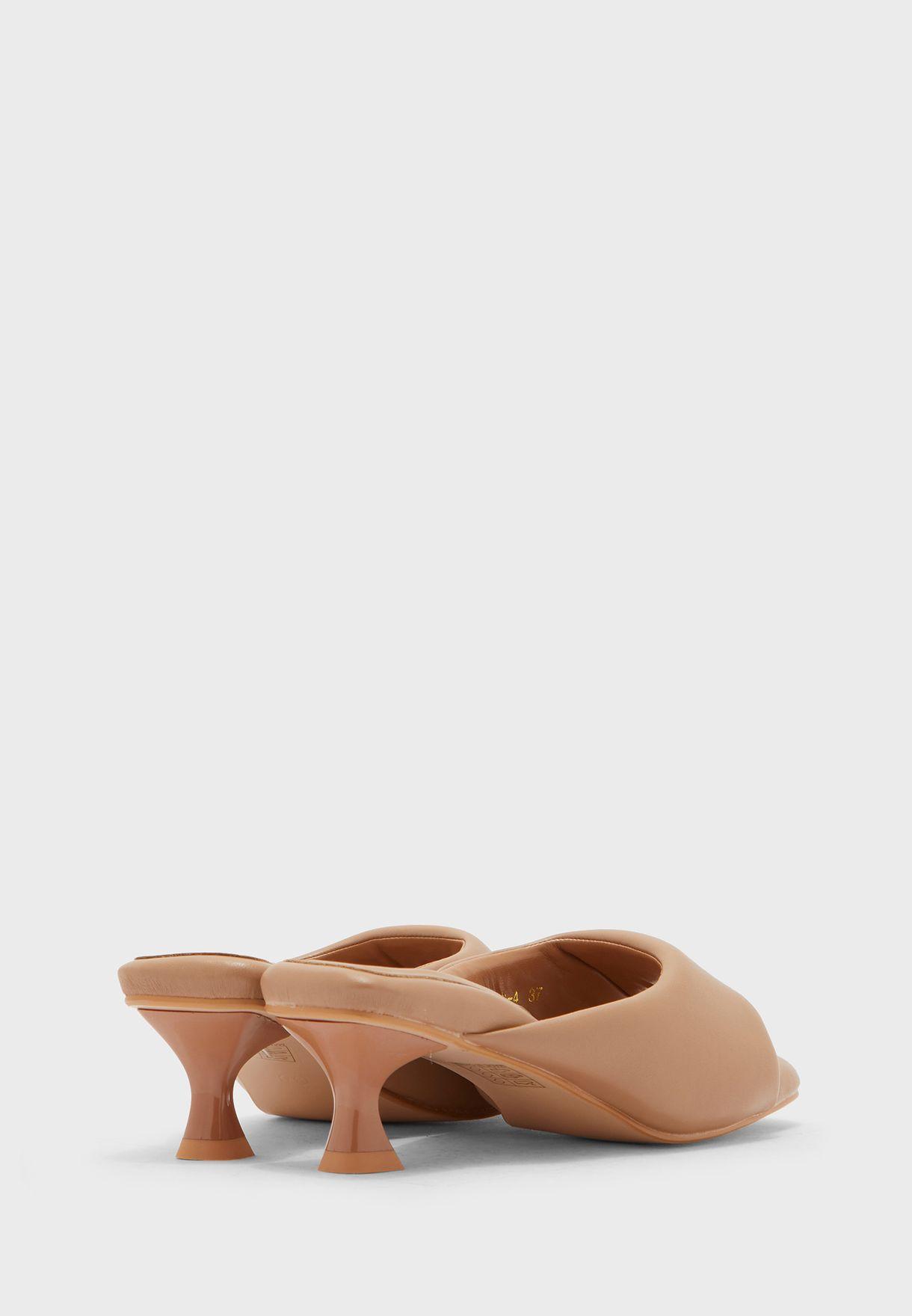 Square Toe Kitten Heel Sandal