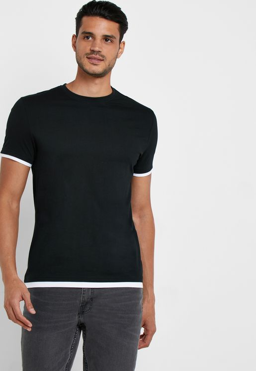 Layered Trim Crew Neck T-Shirt