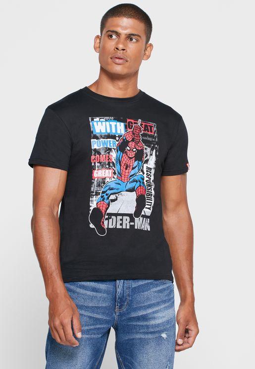 Spider Man Crew Neck T Shirt