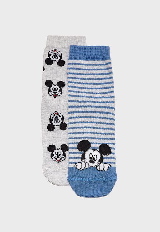 Kids 2 Pack Printed Socks