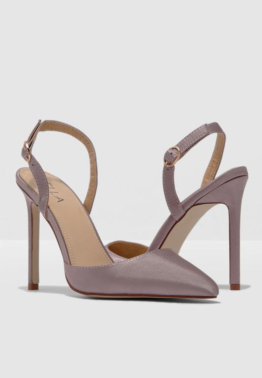 74501897cf59 Pointed Toe Sling Back Court Shoe In Satin
