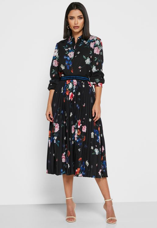 Leaann Pleated Printed Midi Skirt