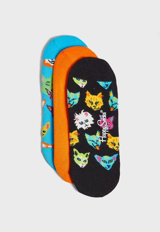 3 Pack Cats & Dogs Liner Socks