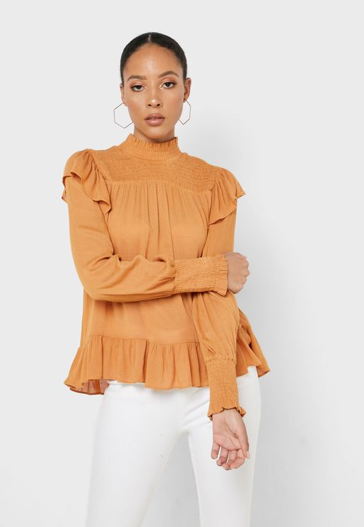 High Neck Ruffle Detail Pleated Top