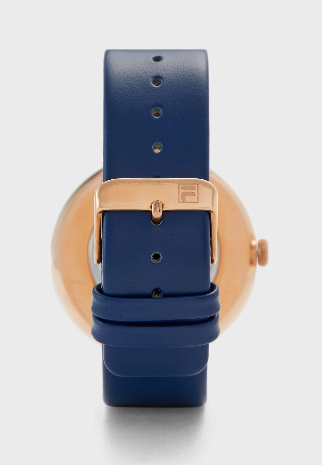 ساعة بحزام جلد اصلي