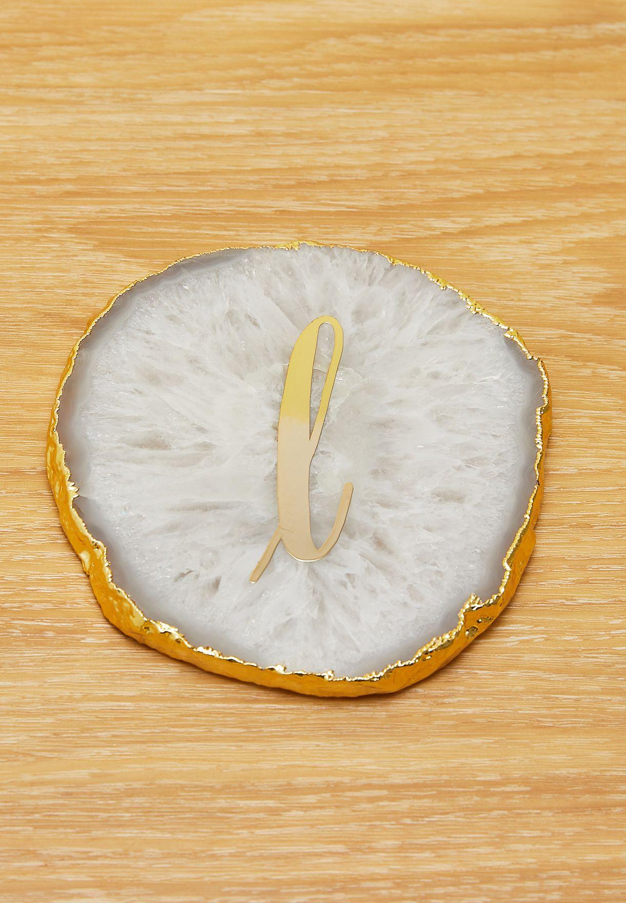 Initial L Mono Agate Coaster