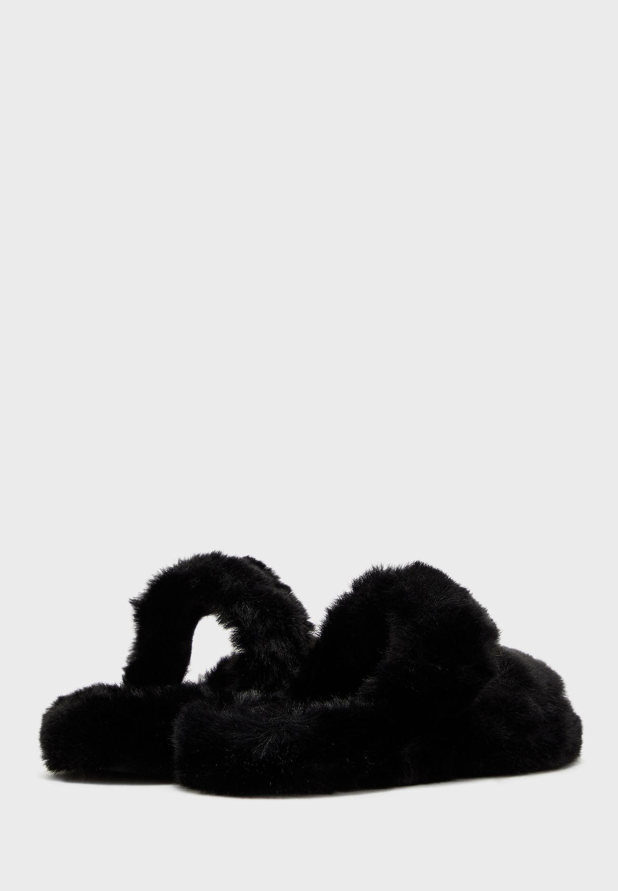 Furry Double Strap House Slipper