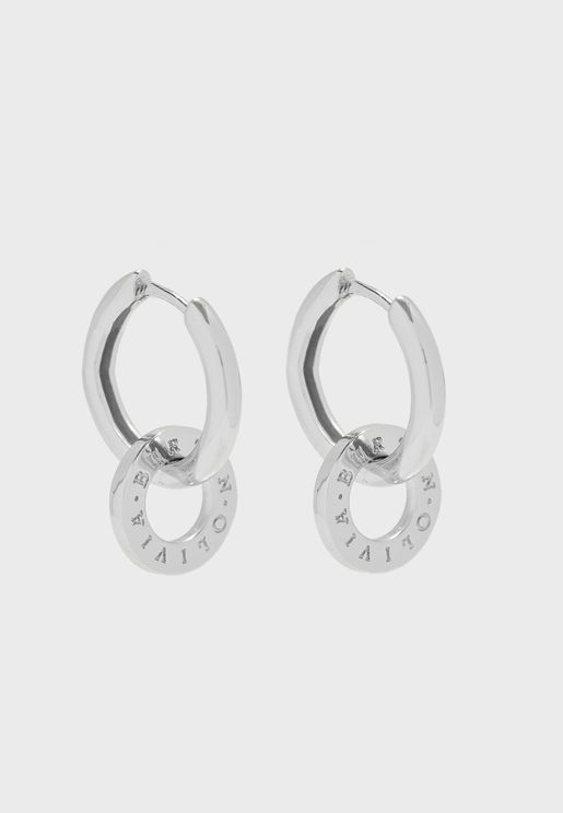 Interlink Huggies Drop Earrings