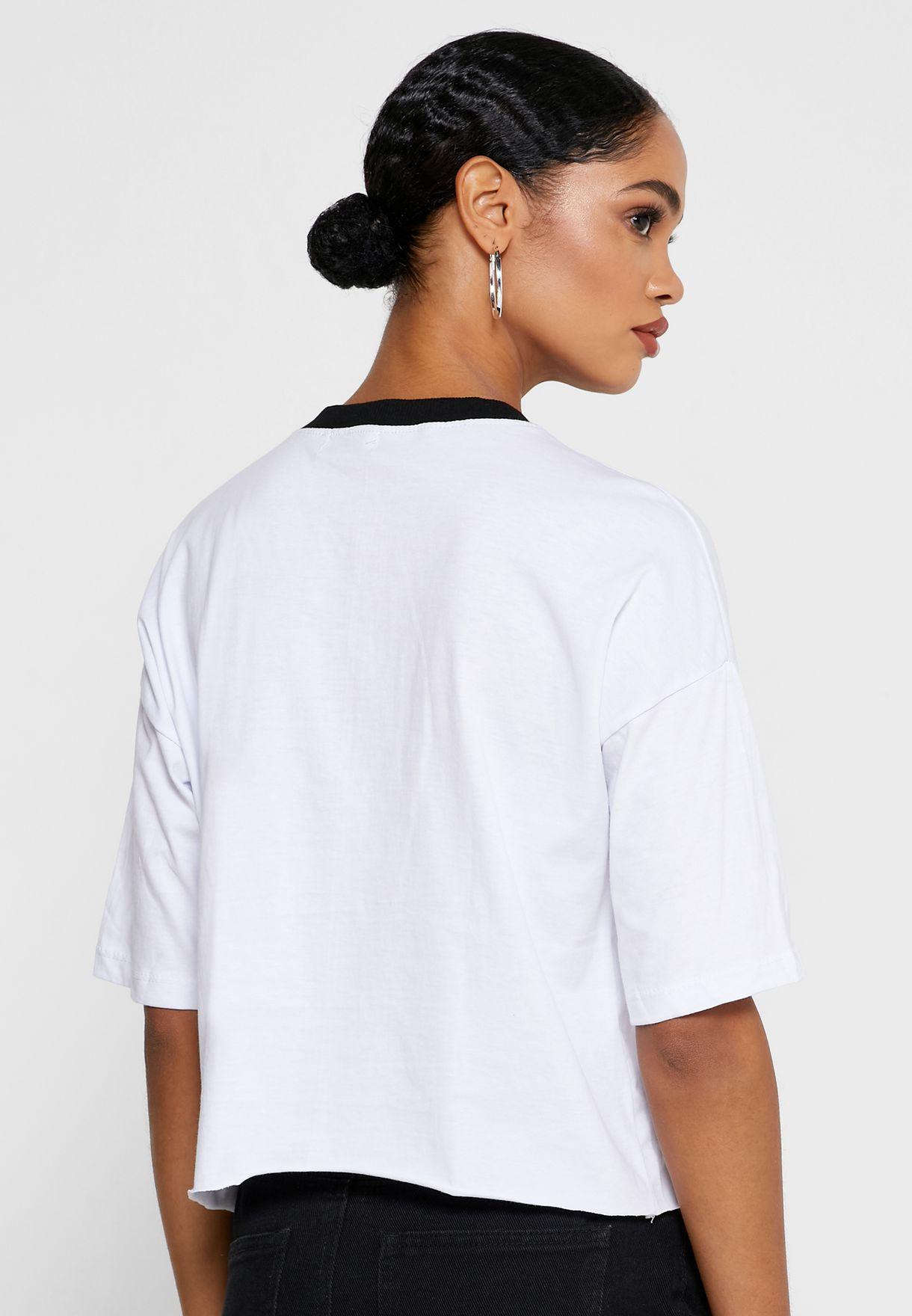 Varsity Lace Up Cropped T-Shirt