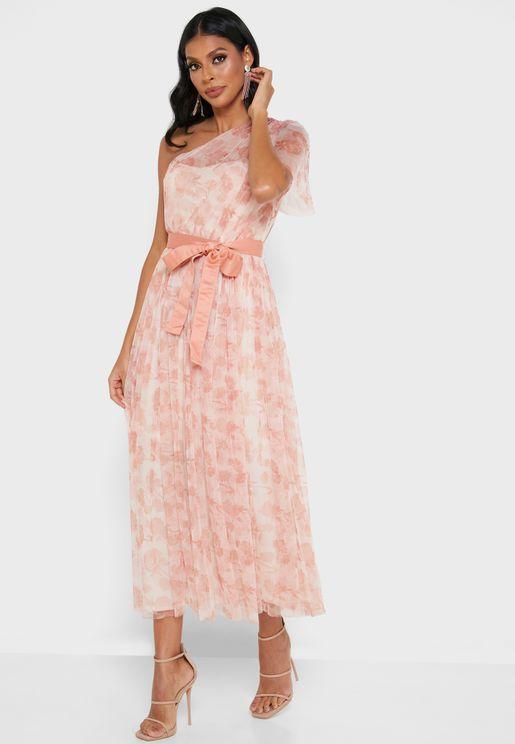 فستان مطبع بكم واحد