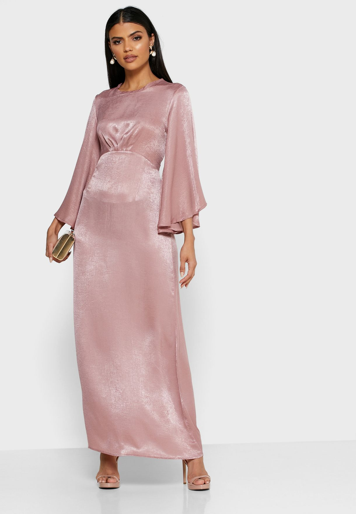 Flare Sleeve Satin Maxi Dress