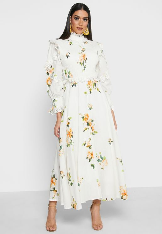 Floral Ruffle Detail Dress