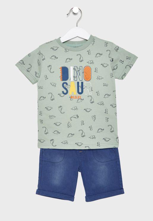 Little Dino T-Shirt + Shorts Set