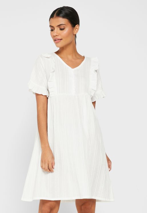 Textured Ruffle Detail Nightdress