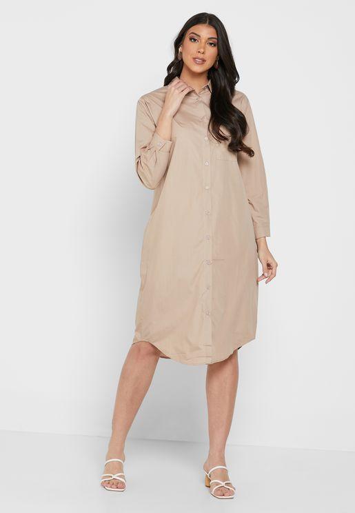 فستان نمط قميص بأزرار