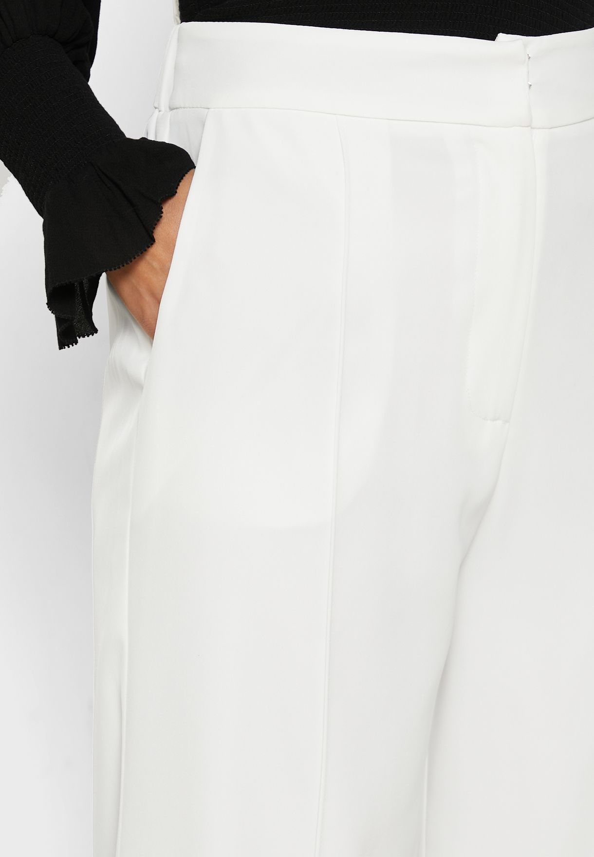Detailed Wide Leg Pants
