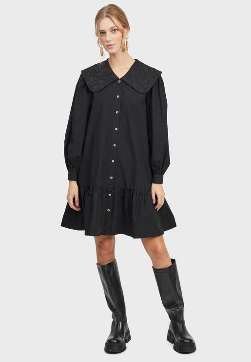 Collared Button Down Mini Shirt Dress