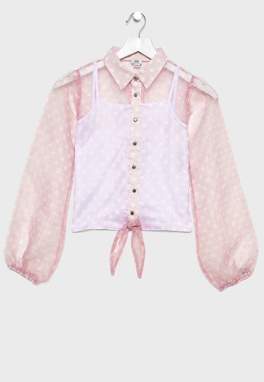قميص مزين بعقدة