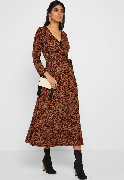 Leopard Print Wrap Front Midi Dress