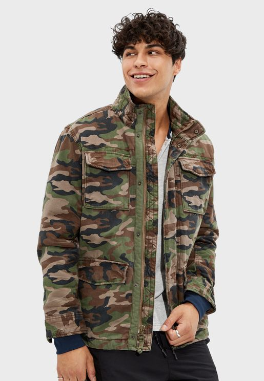 Sherpa Lined Camo Military Jacket