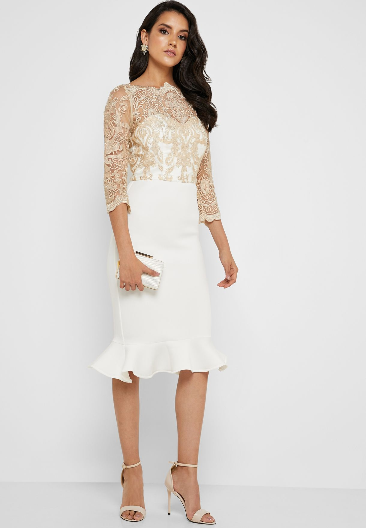 Lace Mesh Fishtail Dress