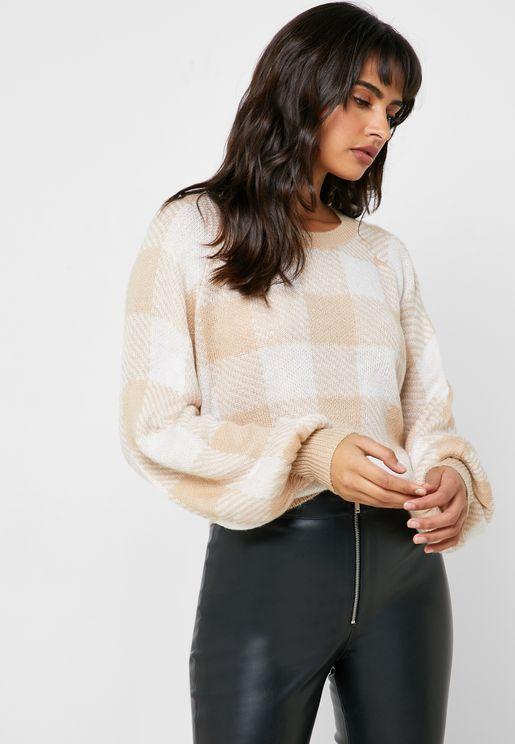 Puff Sleeve Checked Sweatshirt