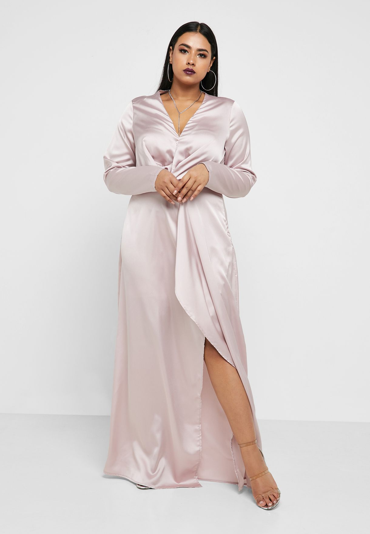 Side Split Plunge Wrap Dress