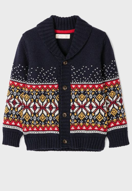 Kids Shawl Neck Cardigan