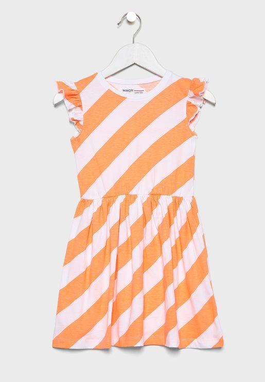 فستان مخطط ومكشكش