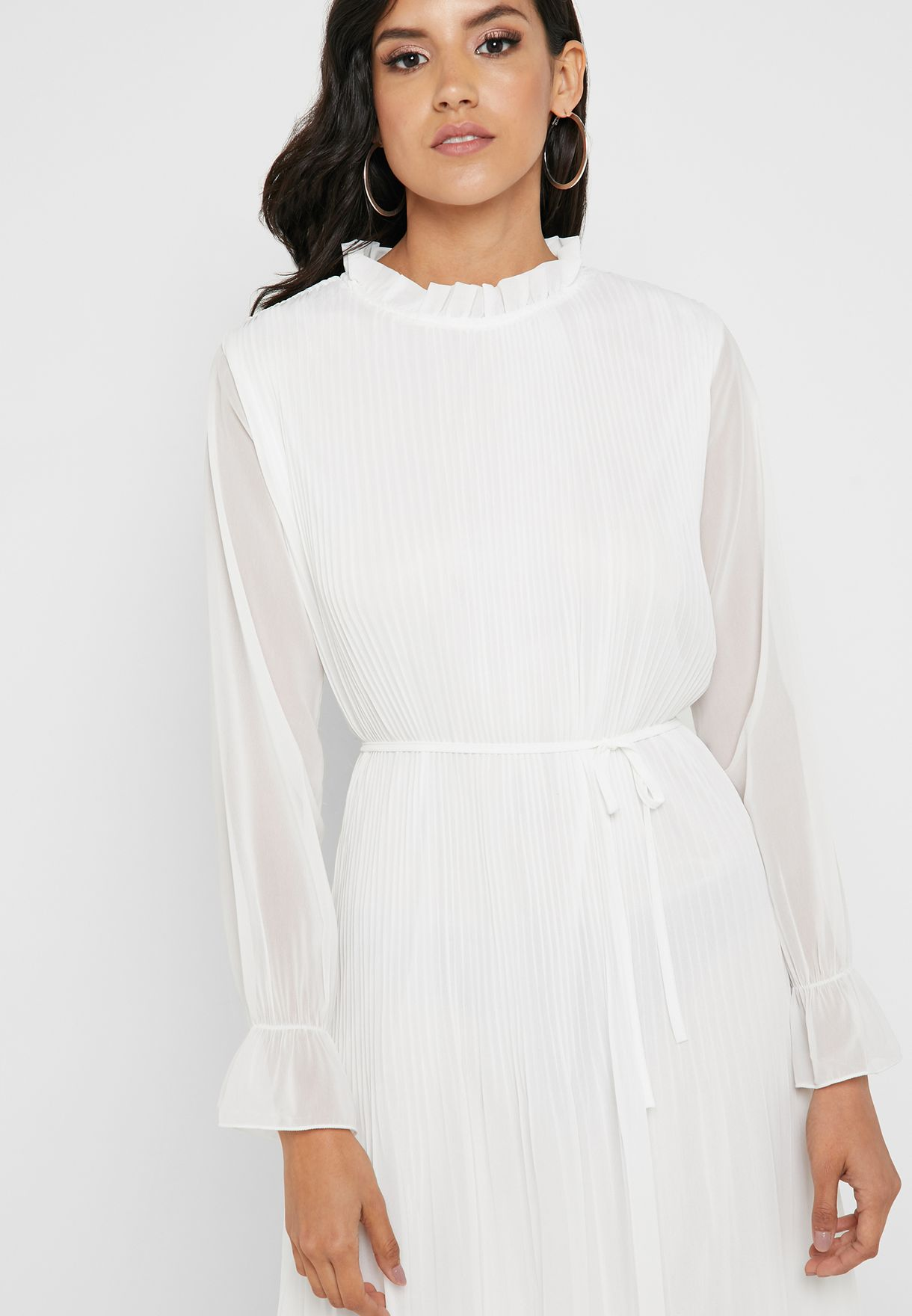 Pleated High Neck Self Tie Midi Dress