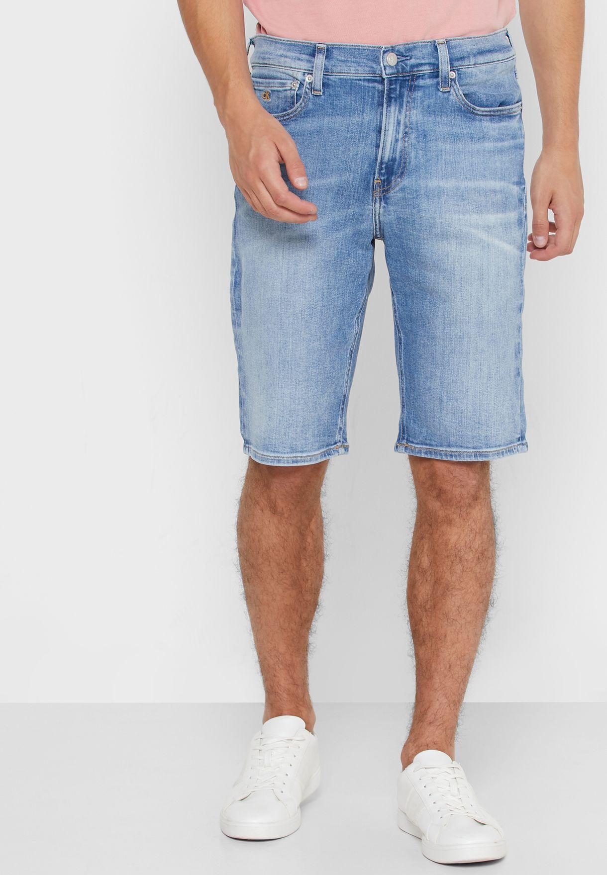Light Wash Slim Fit Denim Shorts