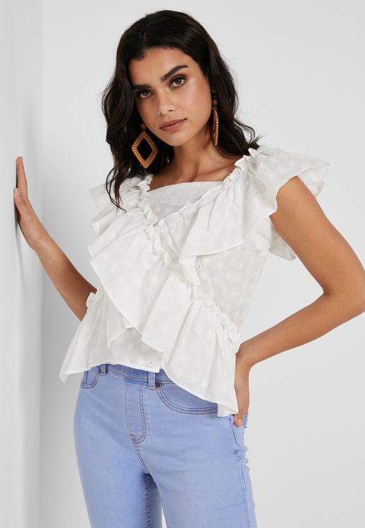 Broderie Frill Detail Top
